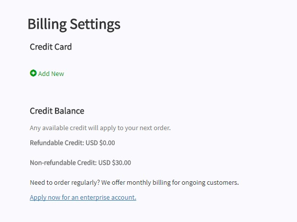 screen shot of the 'Billing Settings' page, cropped to show the credit card details