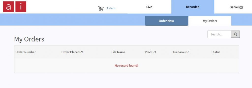 My orders screen shot