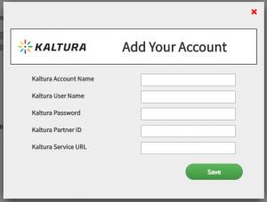 Screen shot of adding Kaltura account page