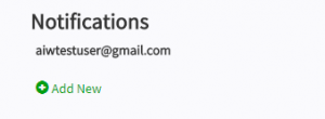 Screen shot of notifications email list