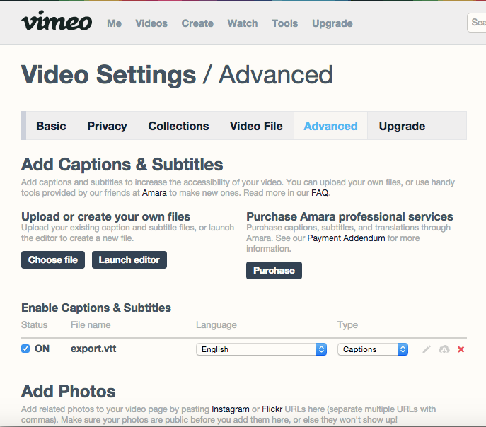 How do i upload a closed caption file srt to vimeo knowledge base to watch your video with the new captions click the cc icon in the vimeo player ccuart Image collections