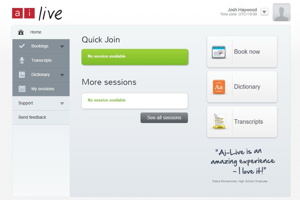 Screenshot of AI Live log-in page, with options to book now, order transcripts, or look at a dictionary.