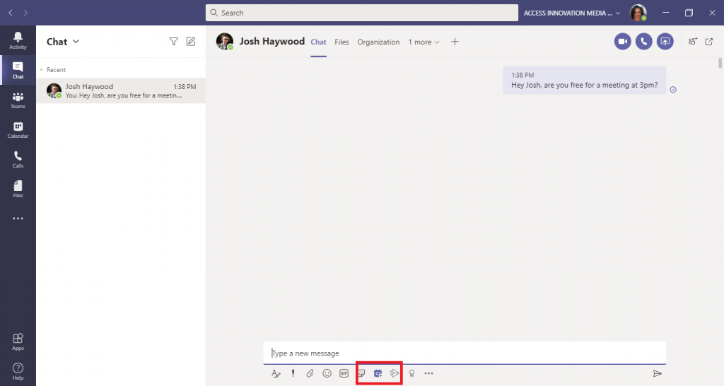 This is a screenshot of a Microsoft Teams chat highlighting how to schedule a meeting from a chat.