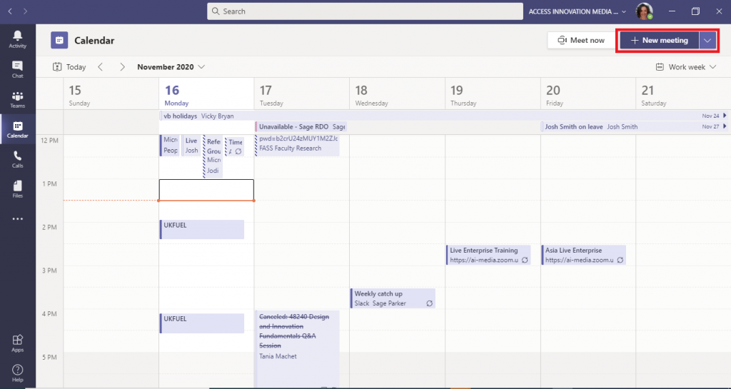 This is a screenshot of the Microsoft Teams calendar view highlighting the 'new meeting' button in the top left of the screen.