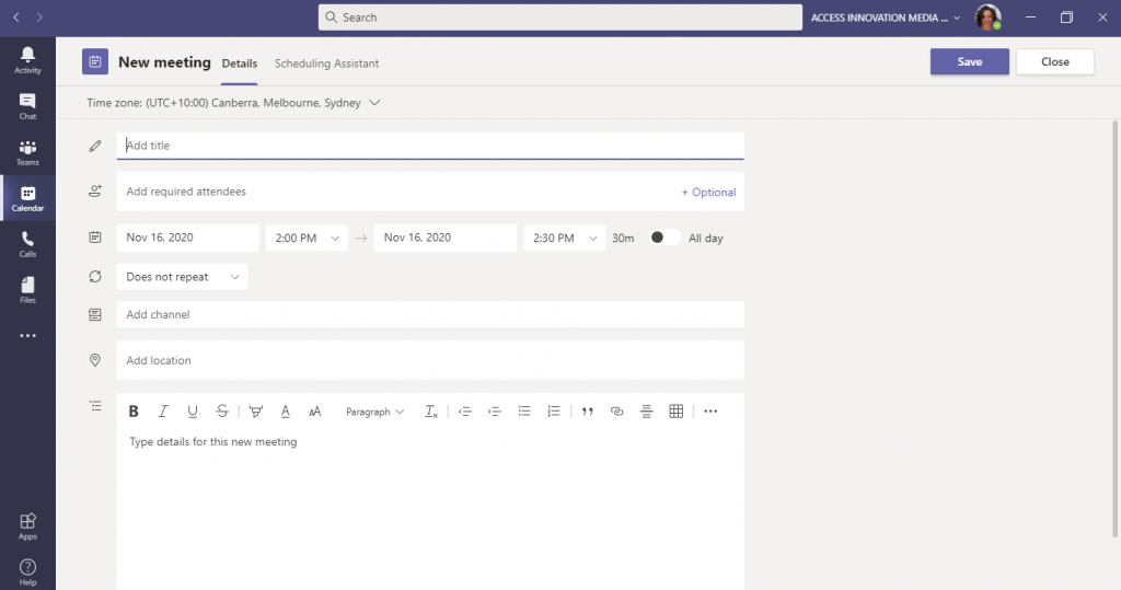 This is a screenshot of the Microsoft Teams scheduling form used to create new meetings within Teams.