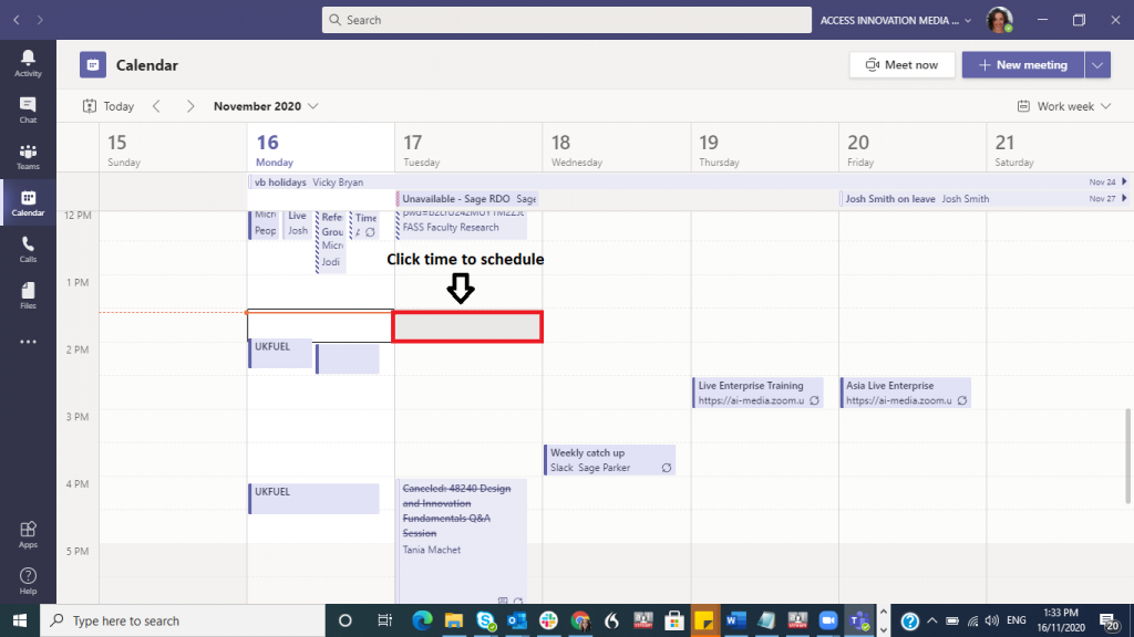 This is a screenshot of the Microsoft Teams calendar view demonstrating how to schedule a meeting by selecting a time on the calendar. There is a red box highlighting a time and text that reads 'click time to schedule'.