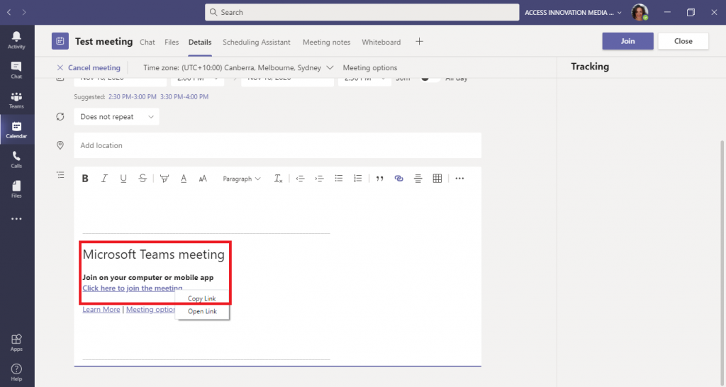 This is a screenshot of a scheduled meeting in Microsoft Teams, highlighting the link to join the meeting and copy the link.