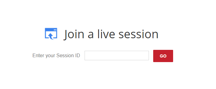 This is a screenshot of the 'Join a live session' function on the Ai-Live website.